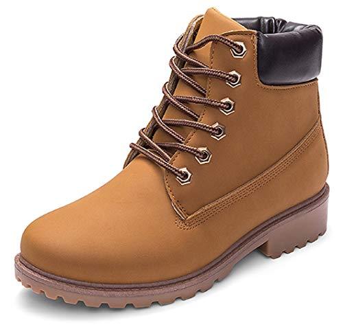 DADAWEN Women's Lace Up Low Heel Work Combat Boots Waterproof Ankle Bootie Yellow US Size 7