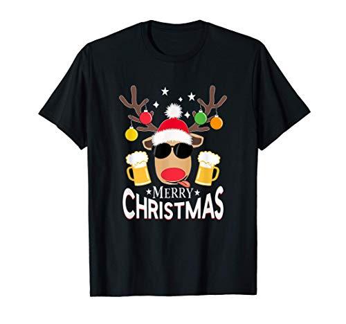 Rennes de Noël Boire de la bière Joyeux Noël Xmas T-Shirt