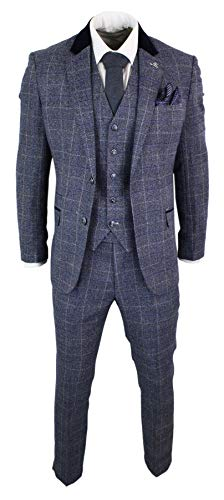 House Of Cavani Herrenanzug Blau 3 Teilig Tweed Fischgr�te Design Vintage Retro Preis