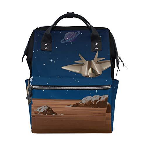 Galaxy Planet Raumschiff mit Satellitenschüssel Wickeltasche Mummy Tote Bag Große Kapazität Multifunktionsrucksack für Reisen