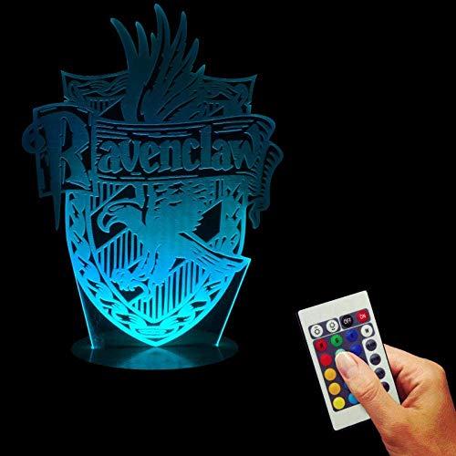 3D Illusion Night Light Harry Raven Crawton Atmosphere Lámpara de escritorio LED Control remoto táctil 7 colores Decoración del hogar Regalo de cumpleaños de Navidad para niños