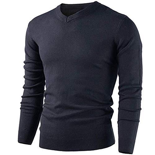Geilisungren Herren Modern V-Ausschnitt Strickpullover Einfarbige Pullover Tops Hemd Männer Herbst Winter Langarm Stricken Bluse Slim T-Shirt Pulli Sweater