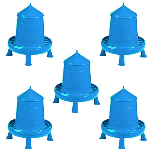 Double-Tuf DT9875 High Capacity 17.5 Pound Durable Poultry Feeder Container with Legs and Convenient Carry Handle, Blue (5 Pack)