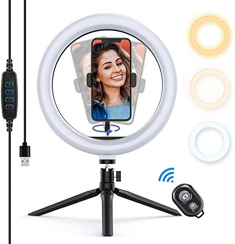 """Yoozon Luz de Anillo LED 10"""" fotográfica de Escritorio, 3 Colores 10 Brillos Regulables Wireless Control Remoto, Trípode con Soporte Giratorio de teléfono para Selfie, Maquillaje, Youtube, TIK Tok"""