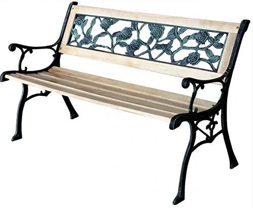 Gartenbank – Parkbank Wetterfest | Metall - Gusseisen – Holz | Garden Bench 3-Sitzer | Solide Konstruktion 120cm | Sitzbank Draußen | Balkon, Terrasse, Garten | Original Design (Rosen)