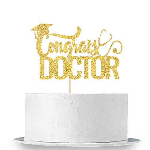 Congrats Doctor Cake Topper - Gold Glitter Congrats 2020 Grad, Medical Doctor Graduation Party Cake Decorations Supplies
