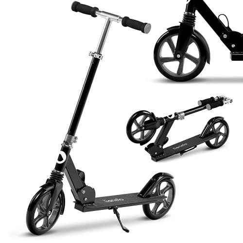 LIONELO Luca Patinete Urbano XXL hasta 100 kg, Scooter para niños, Grandes Ruedas 200 mm ShockResist Amortiguador, Volante Ajustable Altura, Freno Plegable (Negro 2)