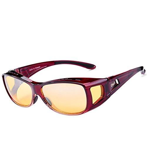 DUCO Polarisierte Nachtfahrtbrille Überbrille für Korrektionsbrille für Brillenträger Polarisierte Nachtsichtbrille (Rot-M)