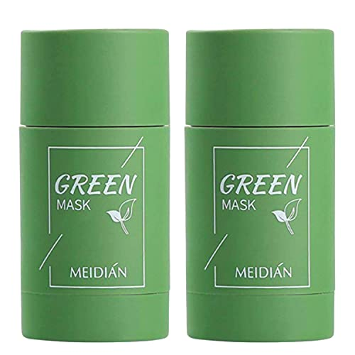 2PCS Green Tea Stick Mask,Purifying Clay Mask,Oil Control Face Mask, Deep Clean Poresfor All Skin Types Men Women (2 PCS)