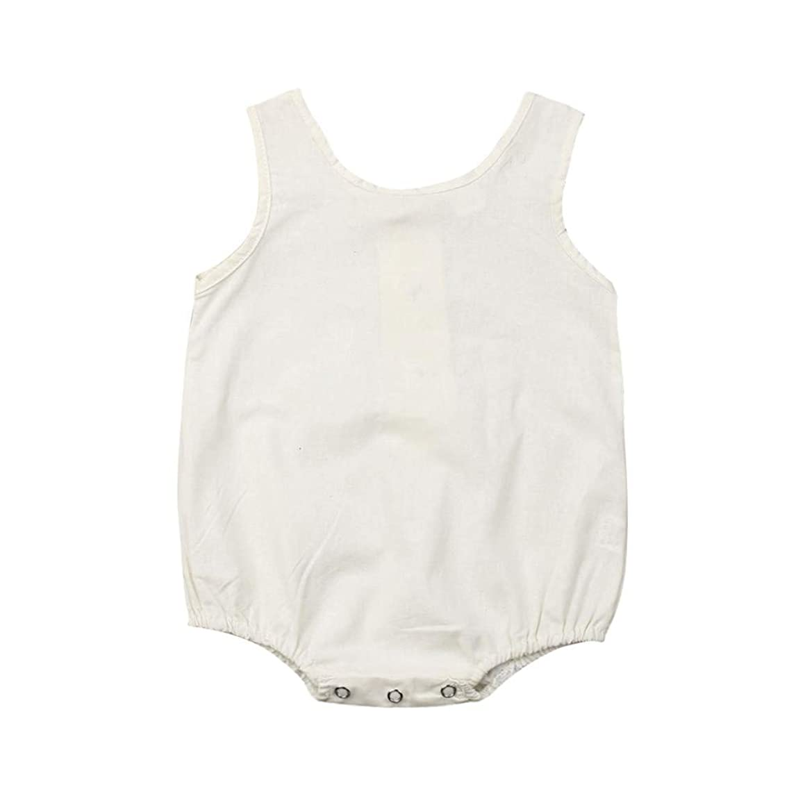 Newborn Baby Boy Girl Linen Sleeveless Romper Jumpsuit Infant Summer Stripes Bodysuit Outfits