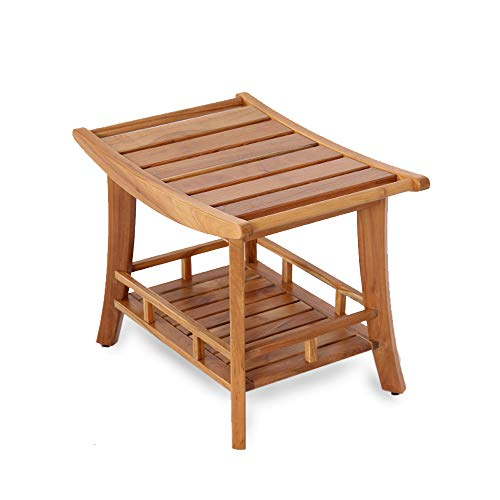 Cambridge Casual Solid Teak Wood Estate Shower Bench with Shelf, Small