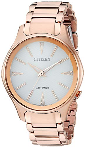 Citizen Women's Eco-Drive Japanese-Quartz Watch with Stainless-Steel Strap, Pink (Model: EM0593-56A)