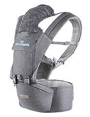 Porte-bébé, Eccomum 6 en 1 porte-bébé ceinture ergonomique, ceinture réglable, coton pur Léger et respirant, position latérale multiple et ventrale, Protection complète (6-36 mois)