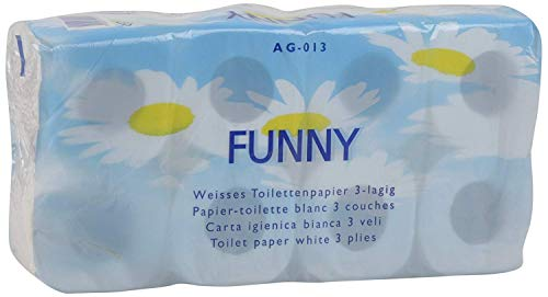 Funny Toilettenpapier 3 lagig 150 Blatt hochweiß, 6er Pack (6 x 8 Stück)