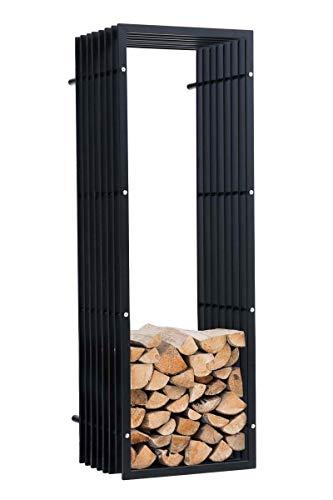 CLP Kaminholzregal/Kaminholzständer für die Wand Irving, stabile Konstruktion in Rippen-Optik, moderner Holzbutler mit Bodenschoner, Farbe:schwarz-matt, Größe:40x50x150 cm