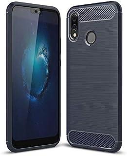 Huawei P20lite ケース 炭素繊維カバー 超薄型 超耐磨 軽量 TPU シリコン スマートフォンケース(ダークブルー)