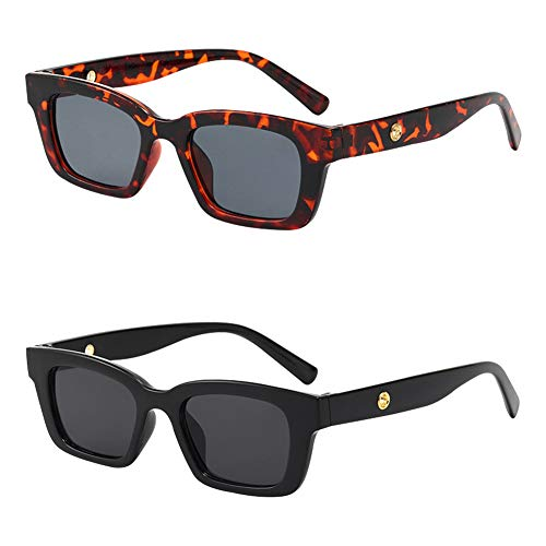 Occhiali da Sole Rettangolari,QSXX 2 Pezzi Occhiali da Sole Retrò,Retro Rettangolo Occhiali da Sole per le Donne Uomini Moda Vintage Cornice Quadrato Occhiali UV 400 Protezione Guida Occhiali
