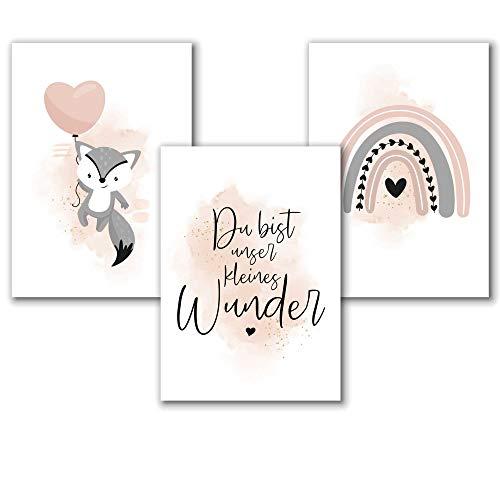 Aquarell Kinderzimmer Poster für Mädchen in Rosa Grau, Spruch Bilder Babyzimmer Deko, Tierbilder Fuchs, Regenbogen Dekoration, 3er Set A4, ohne Rahmen