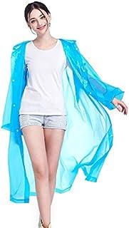 TT WARE Fashion Raincoat Adult Hiking Outdoors Fishing Raincoat EVA Plastic Environmental Protection Poncho Rain Coat-Blue