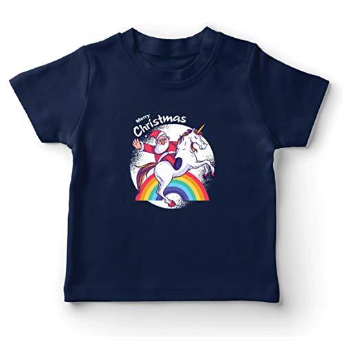 lepni.me Camiseta para Niño/Niña Unicornio de Papá Noel Divertido, (9-11 Years Azul Oscuro Multicolor)