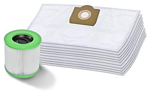 Invest 10 Staubsaugerbeutel + Patronenfilter kompatibel mit Kärcher 6.959-130.0 WD 3 MV 3 waschbar Filter
