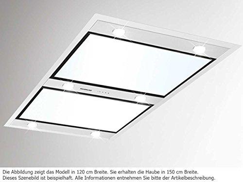 Silverline Vega VGD 154.1 W Abluft Deckenhaube mit Randabsaugung Edelstahl/Weißglas 150 cm