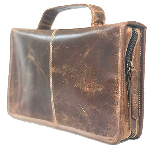 Leather Bible Cover Book Cover Planner Cover with Handle and Back Pocket (Dark Brown)