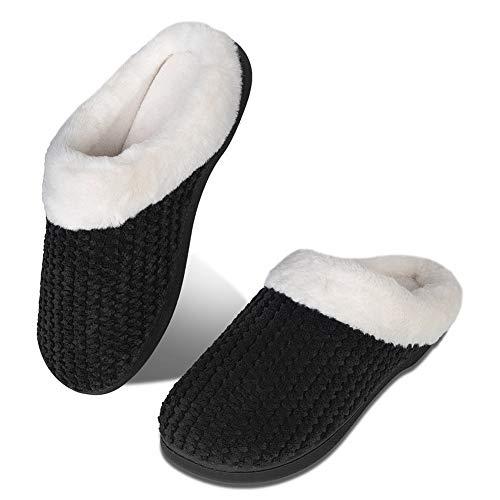 Pantuflas de Invierno para Hombre y Mujer, con Espuma viscoelástica, cómodas, Antideslizantes, para Interior y Exterior(HST.Negro,36/37 EU)