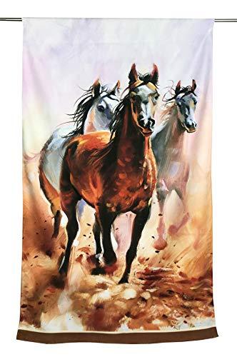 Tex family Toalla de playa de rizo con diseño de caballos y pintura, tamaño grande, 90 x 170 cm