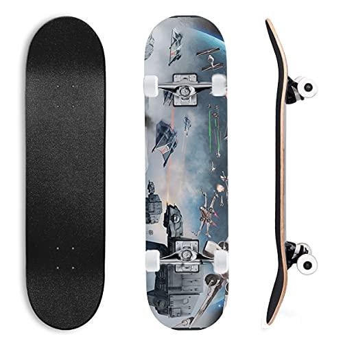 Skateboard für Anfänger Star Wars: Reich des Krieges für Anfänger, Jugendliche, Kinder, Mädchen, 7 Schichten aus Ahornholz mit ABEC-11-Kugellagern, Skateboard, Longboards Raumschiffkapsel