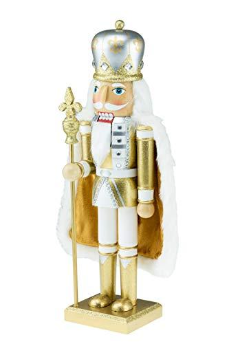 Clever Creations - Traditioneller Nussknacker - Festliche Weihnachtsdeko - perfekt für Regale und Tische - König Goldfarben