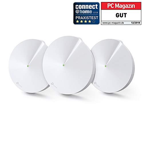 TP-Link Deco P7 Hybrid Wifi Mesh con Powerline - Wifi AC1300 + Powerline AV600 - Adatto per edifici storici con muri spessi - Pacchetto da 3 unità - Compatibile Alexa, Bianco