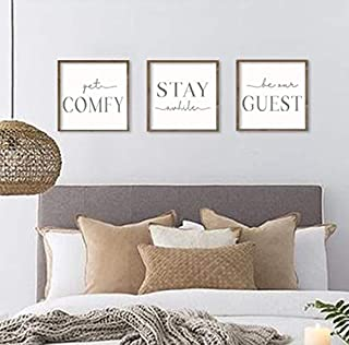 bawansign Guest Room Decor get Comfy Stay awhile be Our Guest Set of 3 Wall Art be Our Guest Signs Guest Bedroom Signs 12x12 Each