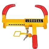 LOOHAOC Universal Radkralle Parkkralle Radschloss,Diebstahlsicherung für Radklemmen,Radsicherung von Auto,Motorrad ink Wohnwagen,Anhänger,Lastwagen(9 Löcher mit 3 Stück Schlüsseln)