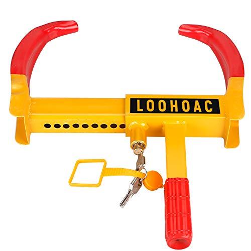 LOOHAOC Clip Antirrobo Ajustable Universal para Antirrobo de Ruedas, Motocicleta, Caravana, Remolque,Camión, Caravana, Cerradura Antitaladro pvp (9 Agujeros 3 Llaves)