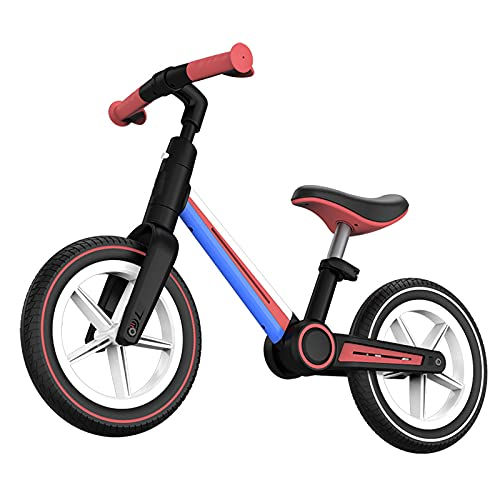 CKCL Bicicleta De Equilibrio, Asiento Ajustable Plegable para Niños Ligera Sin Pedal Bebés para Bicicletas De Empuje Niños Pequeños Niños Y Niñas De 18 Meses 2 3 4 Y 5 Años De Edad,Rosado