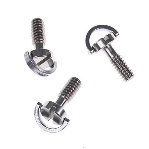 VizGiz 3 Pack 1/4 Quick Release Adapter Screw Pin Enhanced Long 21MM Flat Head D Shaft D Ring 1/4