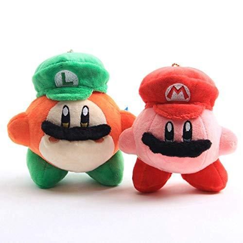 2 Stück 10 cm Niedliche Kirby Plüsch Spielzeug Puppe, Anime Kirby Cosplay Mario Luigi Plüschtier Puppe Star Kirby Keychain Anhänger Kinder Geschenk Laimi