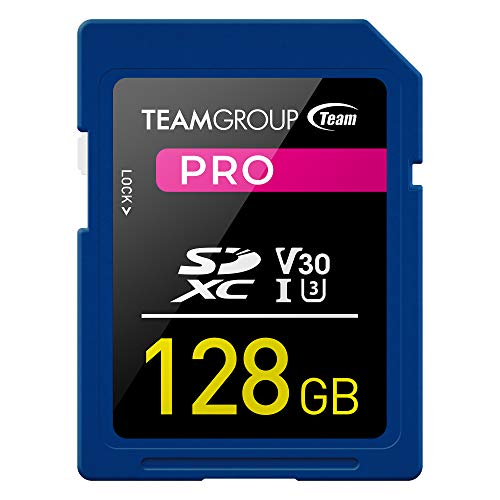 TEAMGROUP PRO 128GB UHS-I/U3 SDXC Memory Card U3 V30 4K UHD Read Speed up to 100MB/s for Professional Vloggers, Filmmakers, Photographers & Content Curators TPSDXC128GIV30P01