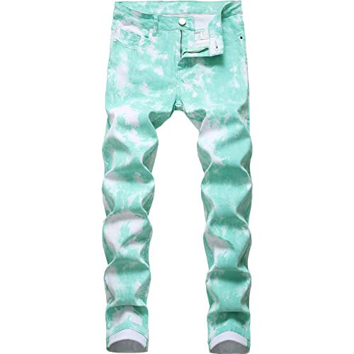Beastle Jeans para Hombres Moda Slim-fit Pantalones Vaqueros Impresos Pintados de Pierna Recta Pantalones de Talla Grande Europeos y Americanos Tendencia 40