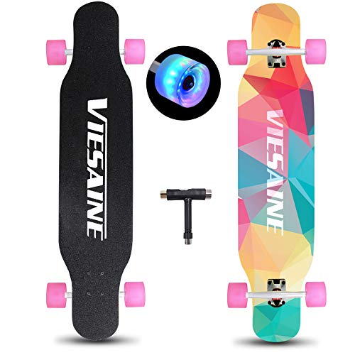 PHOEROS Longboard Skateboard, 41 Inch Complete Longboard Cruiser Skateboard with Flashing Wheels for Adults Beginners Girls Boys Teens-Longboard Skateboards for Carving,Free-Style and Downhill