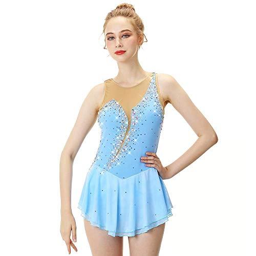 LWQ Eiskunstlauf-Kleid-Frauen-Mädchen Eislaufen Kleid Himmelblau Spandex Stretch-Garn hohe Elastizität-Berufswettbewerb,Child 10