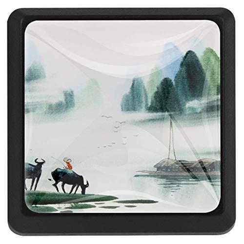 TIZORAX Schubladenknöpfe, chinesischer Cowboy, See, Landschaft, Küchenschrankgriff, quadratisch, 3 Packungen für Schrank, Kommode, Tür, Heimdekoration