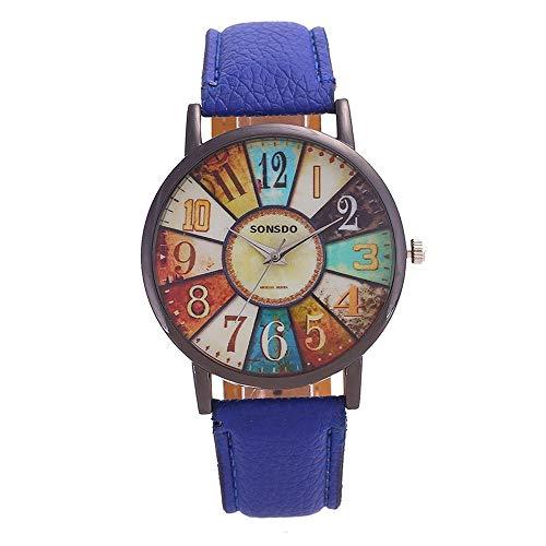 Relojes for las mujeres, de cuarzo for mujer, señoras reloj de cuarzo, cuarzo del reloj de las mujeres, retro de la personalidad digital de la placa giratoria de la PU correa de cuero del movimiento d