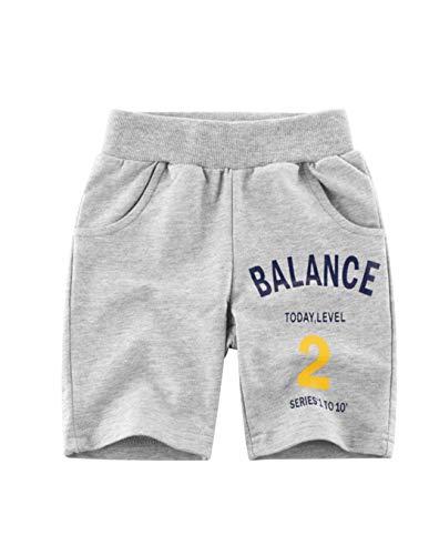 Askong - Pantalones cortos deportivos con cintura elástica para niños (1 a 10 años) - Gris - 9-10 años