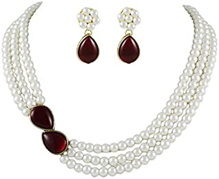 b29de59d34191d Shining Diva Pearl Necklace Jewellery Set with Earrings for Women/Girls ( White) (