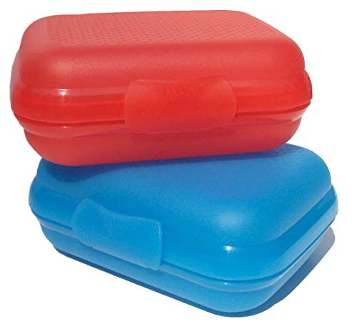 Set of 2 Tupperware Packables Clamshell Containers in Red and Blue