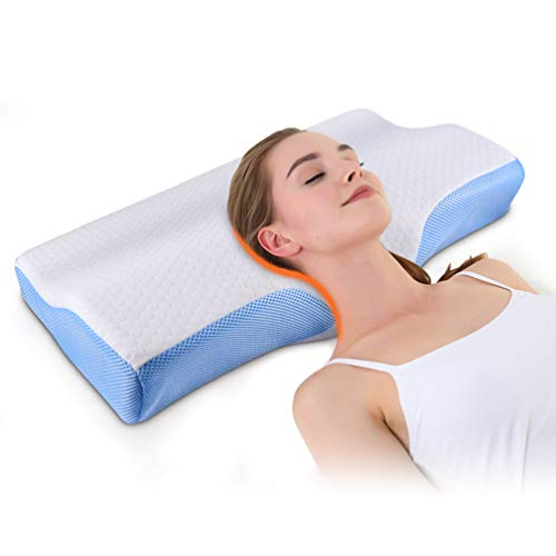 Memory Foam Pillow,Support Pillow for Sleeping Stable Deep Sleep Neck Pillow Cervical Massage Ergonomic Bed Pillow for Total Relief of Neck&Back,for Pain Stomach and Back Sleeper,Standard Size 5030cm