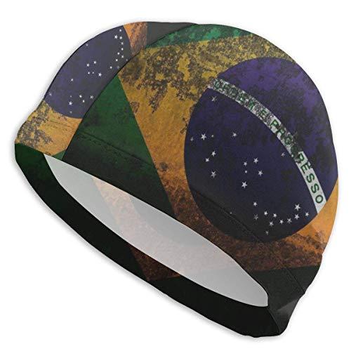 HFHY Gorro de baño Protección para los oídos Bandera de Brasil Gorros de natación Sombrero de natación Impermeable para Hombres, Mujeres, Adultos