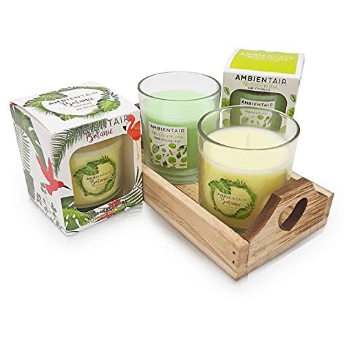 Set di candele aromatiche naturali » Candela profumata con profumi della Selva + candela TE verde lime + vassoio in legno decorativo in regalo (verde naturalezza)